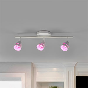 3-bulb Ivory LED ceiling spotlight with remote