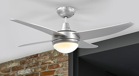 Finnley grey ceiling fan, illuminated