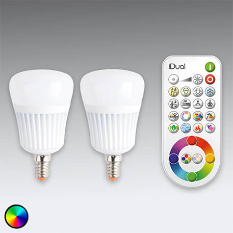 iDual E14 LED lamp x2 with remote control