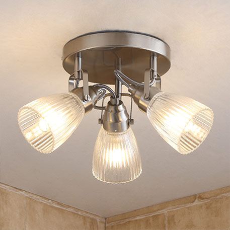 Round LED bathroom ceiling light Kara fluted glass
