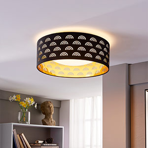Jorunn - fabric LED ceiling lamp, black and gold