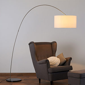 Alia fabric floor lamp with an LED lamp