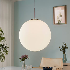 Marike pendant lamp, opal glass sphere white