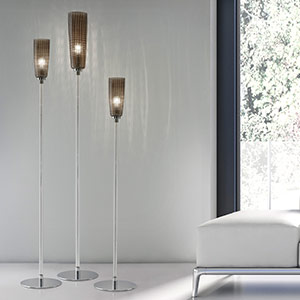 Floor lamp Perle with glass lampshade in grey