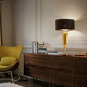 Show Ogiva - black-gold fabric table lamp