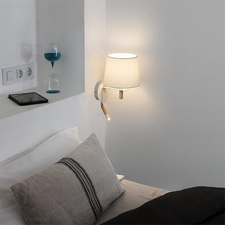 wooden wall light with a switch