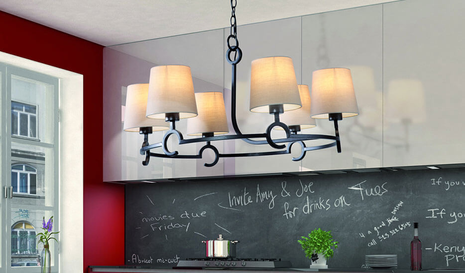 rustic chandelier with lampshades