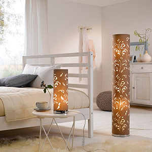 Flora floor lamp cappuccino lampshade with décor