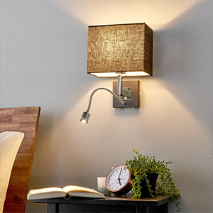 Black fabric wall lamp Rebekka, LED reading arm